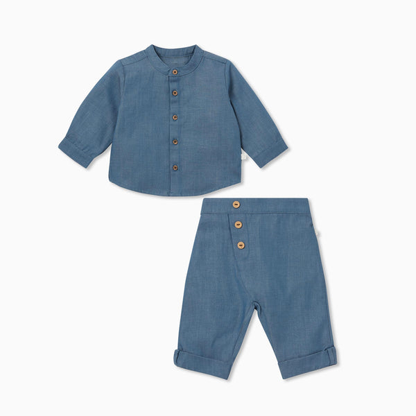 Chambray Denim Shirt & Pants Set