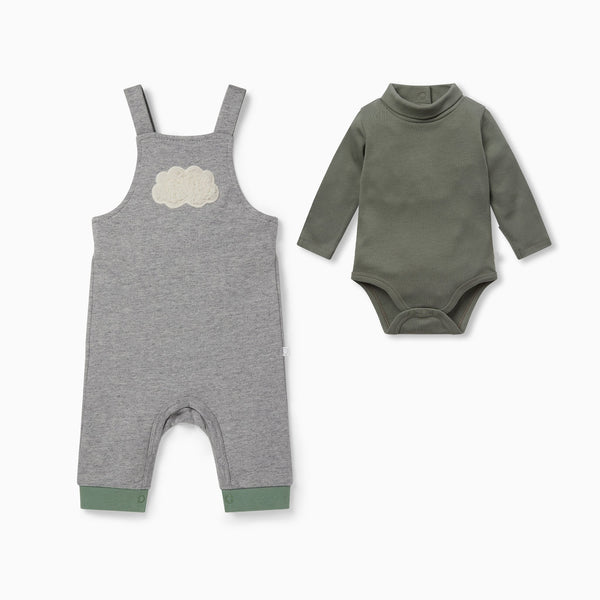 Cloud Dungarees Overalls & Roll Neck Bodysuit Outfit