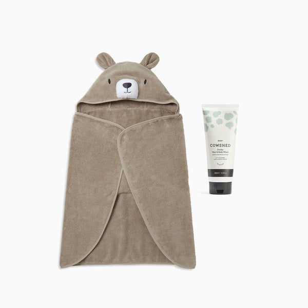 Cowshed Baby Body Wash & MORI Bear Hooded Towel Set