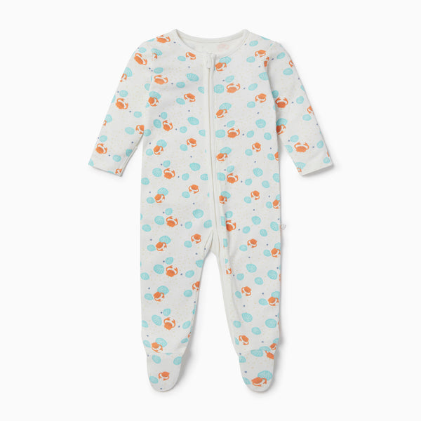 Crab & Shell Clever Zip Baby Pajamas