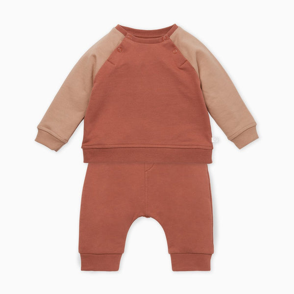 Terracotta Raglan Sweatshirt & Pant Set