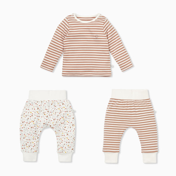 Caramel Stripe & Pebble Long Sleeve Tee & Pants Set