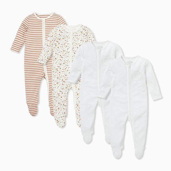Caramel Zip-Up Sleep & Play One-Piece 4 Pack