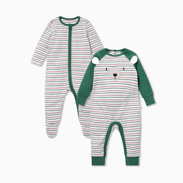 Festive Sleep & Play One-Piece 2 Pack