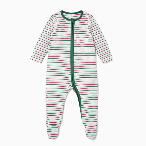 Festive Stripe Zip-Up Sleep & Play One-Piece