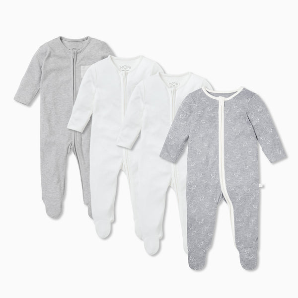 Fox Zip-Up Sleep & Play One-Piece 4 Pack