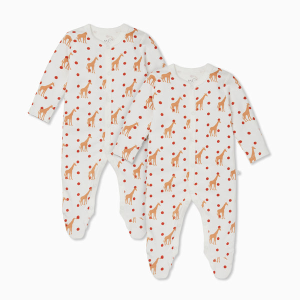 Giraffe Snap-Up Sleepsuit Twin Set
