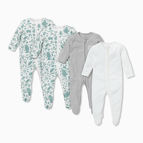 Gruffalo Leaf Green Zip-Up Sleep & Play One-Piece 4 Pack