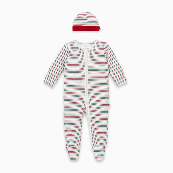 Sleepy Stripe Hat & Zip-Up Sleep & Play One-Piece