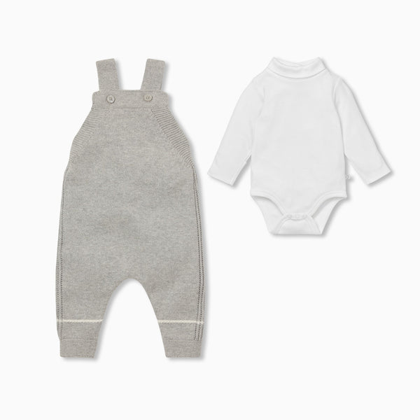 Knitted Dungaree Overalls & Roll Neck Bodysuit Outfit