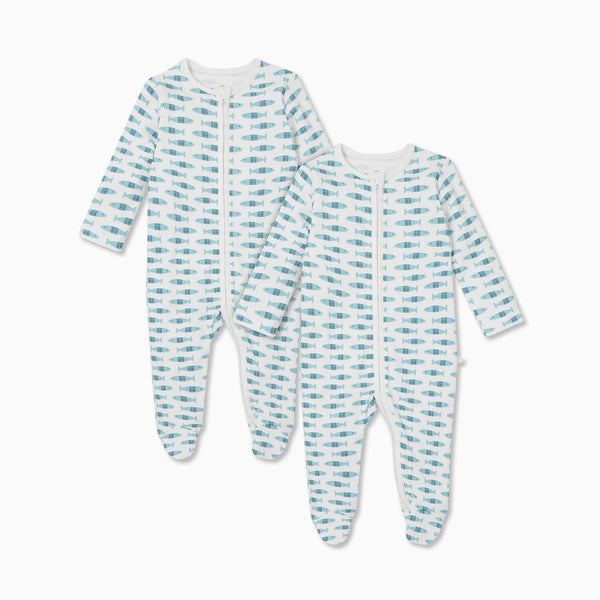 Little Fish Zip-Up Sleep & Play One-Piece 2 Pack