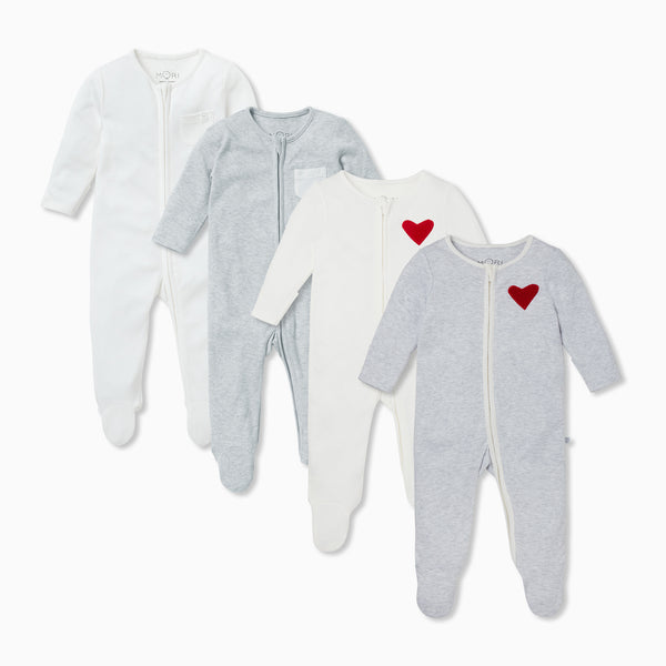 Hearts Zip-Up Sleep & Play One-Piece 4 Pack