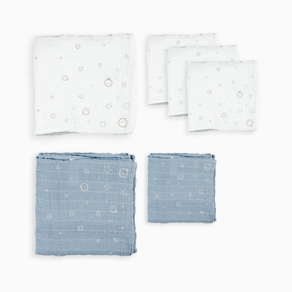 Mixed Muslin & Burp Cloth 6 Pack