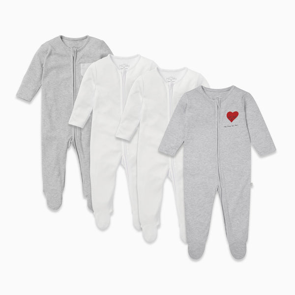 Nap Time Zip-Up Sleep & Play One-Piece 4 Pack