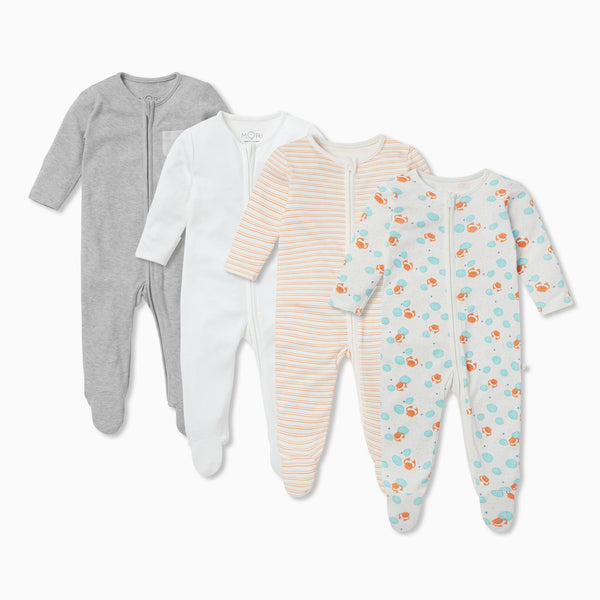 Ocean Zip Baby Pajamas 4 Pack