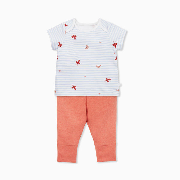 Coral Ocean Stripe Tee & Leggings Set