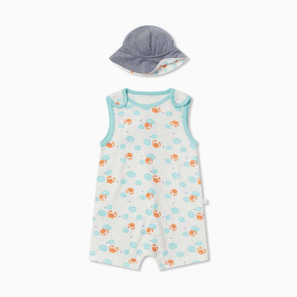 Crab & Shell Beach Romper & Hat Outfit
