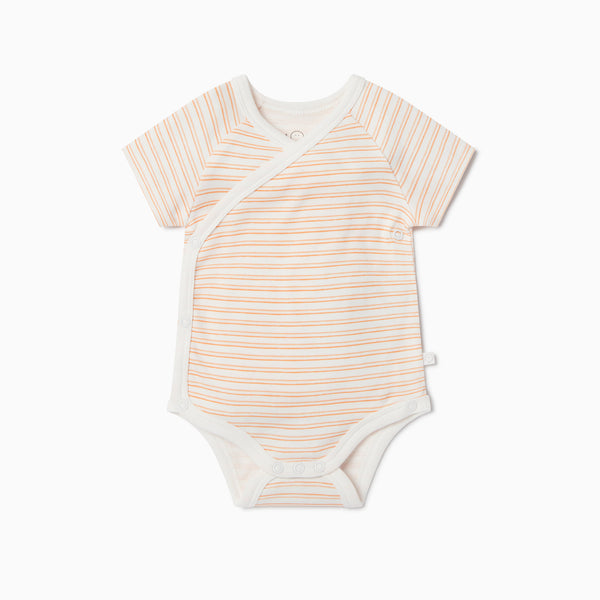 Orange Stripe Short Sleeve Kimono Bodysuit