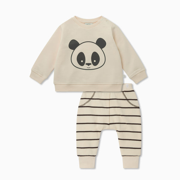 Panda Sweater & Striped Joggers Outfit