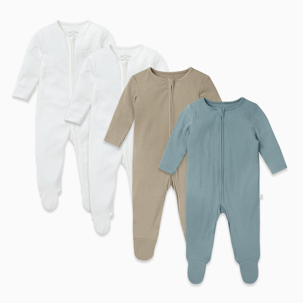Ribbed Zip-Up Sleep & Play One-Piece 4 Pack