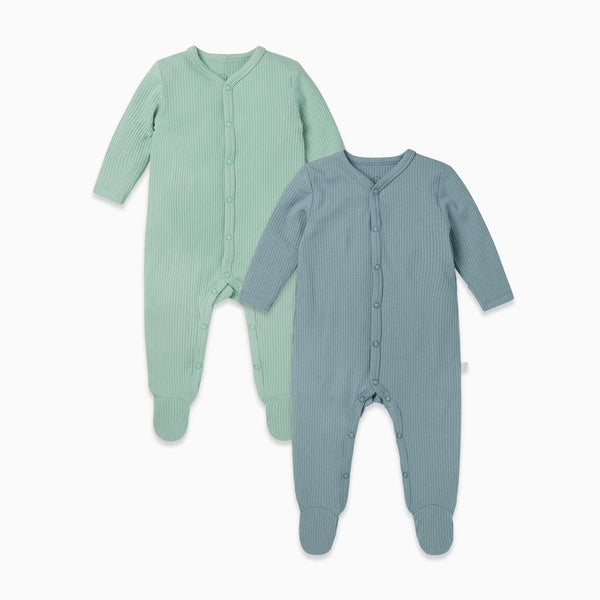 Ribbed Snap Baby Pajamas 2 Pack