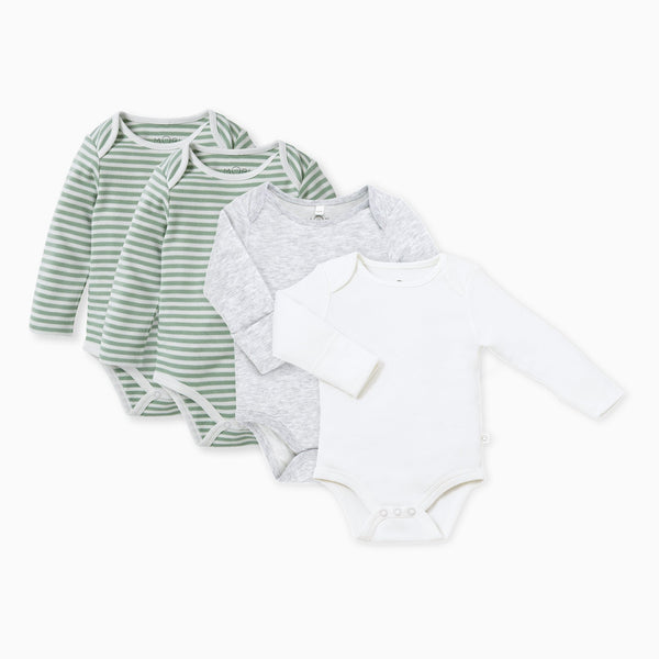 Sage Stripe Long Sleeve Bodysuit 4 Pack