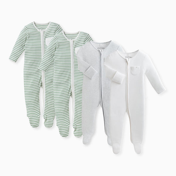 Sage Zip-Up Sleep & Play One-Piece 4-Pack