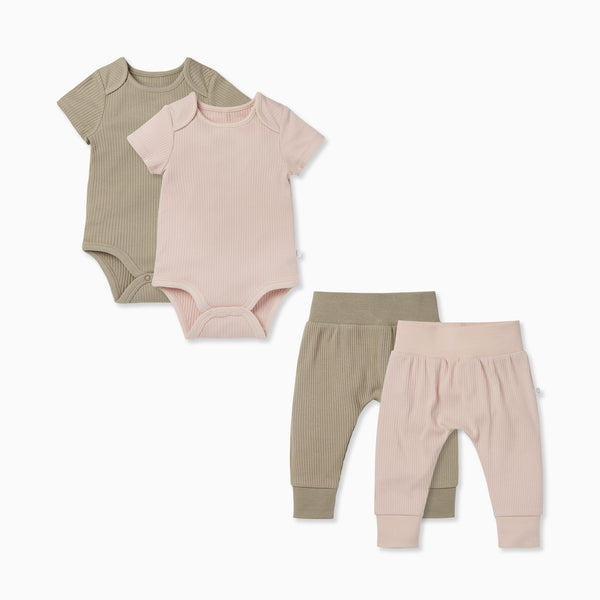 Short Sleeve Bodysuit & Ribbed Joggers 2 Pack