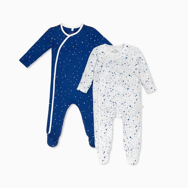 Space & Night Sky Kimono Sleep & Play One-Piece 2 Pack