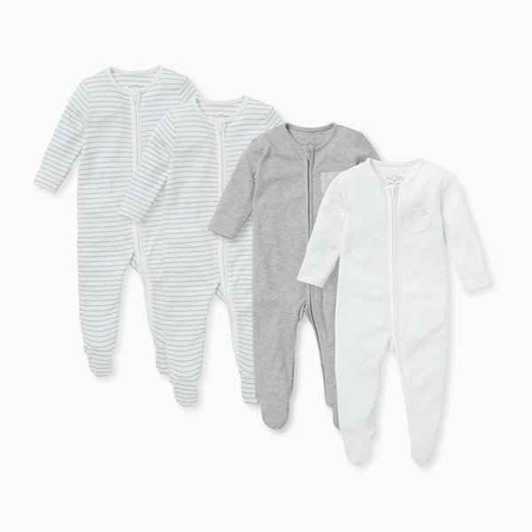 Teal Stripe Zip-Up Sleep & Play One-Piece 4 Pack