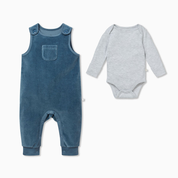 Velour Dungaree Overalls & Bodysuit Outfit