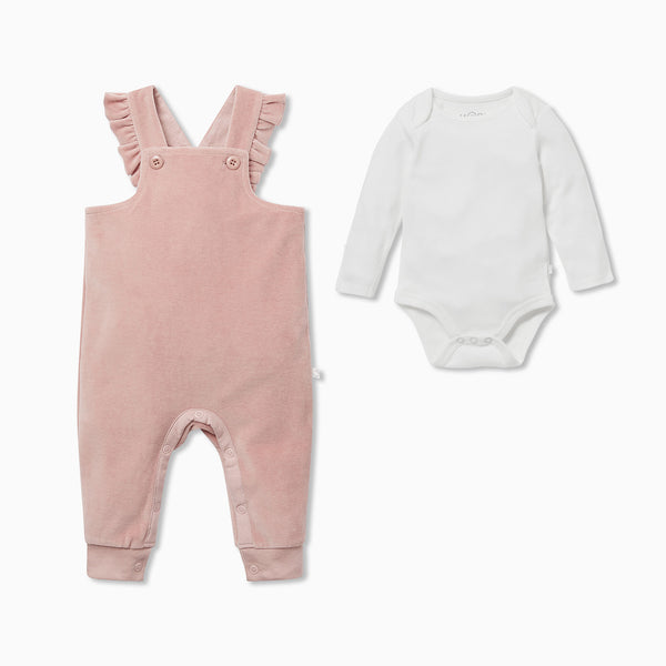 Velour Frill Dungaree Overalls & Bodysuit Outfit