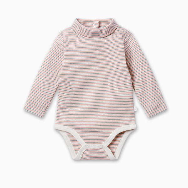 Blush & Khaki Stripe Roll Neck Bodysuit