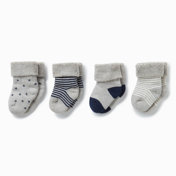 four baby and toddler navy socks