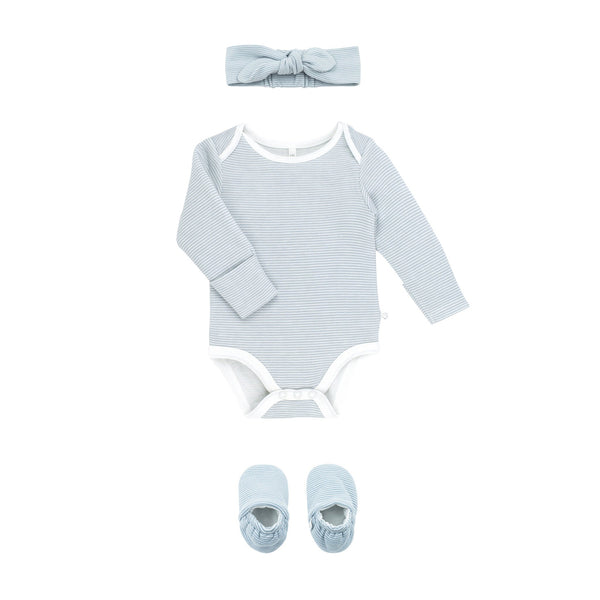 blue stripe baby bodysuit, headband & booties