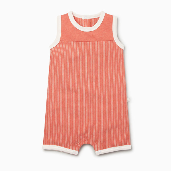 Coral Stripe Beach Romper