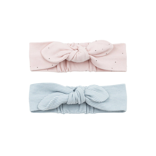 blue stripe and stardust baby headbands made from organic materials