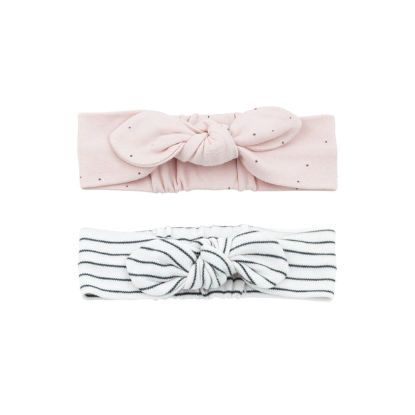 grey stripe and stardust baby headbands made from organic materials