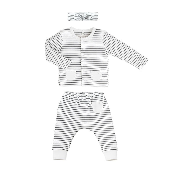 MORI grey stripe baby Headband, Cardigan and Yoga Pants made from organic cotton and bamboo fabrics