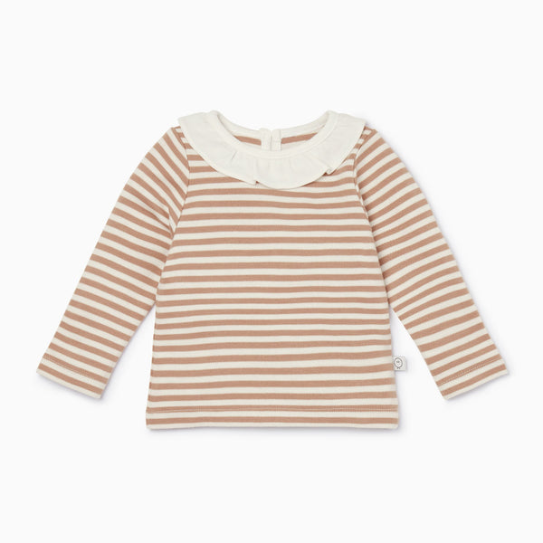 Caramel  Stripe Ruffle Long Sleeve Tee