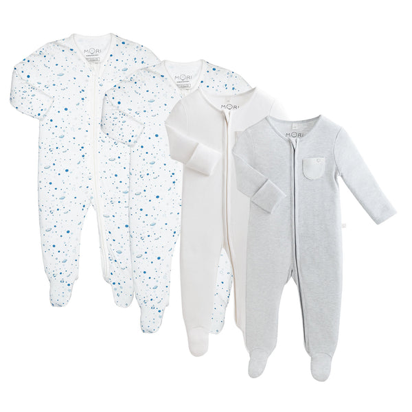 Space Zip-Up Sleep & Play One-Piece 4 Pack