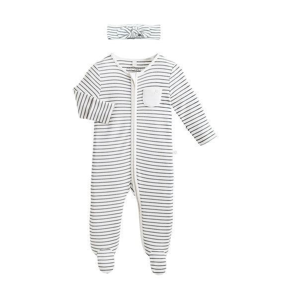 grey baby stripe bodysuit and headband