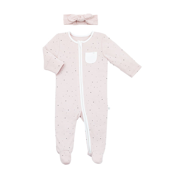 Headband and Zip-Up Sleep & Play One-Piece Set