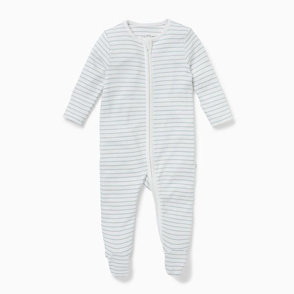 Teal Stripe Zip-Up Sleep & Play One-Piece