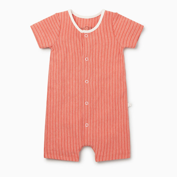 Coral Stripe Snap-Up Shortall Romper
