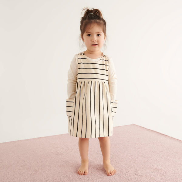 Striped Pinafore Dress & Panda Long Sleeve Tee Outfit