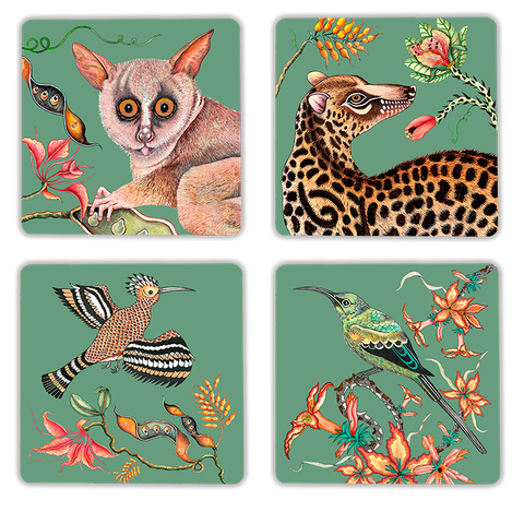 Cheetah Kings Jade Velvet Pouffe
