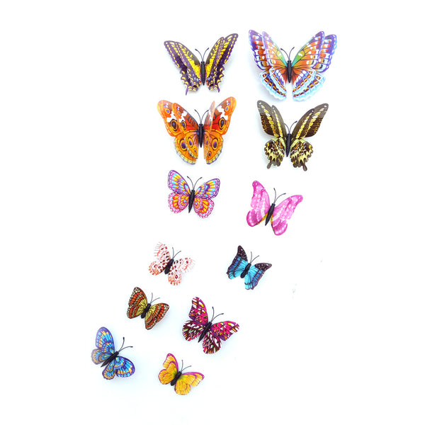 12 Piece 3D Butterfly  Glow In Dark Decals