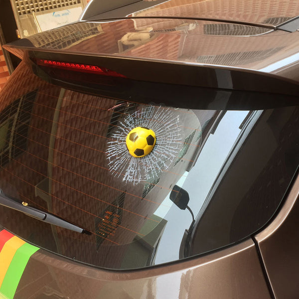 3D Funny Auto Ball Broken Glass Window Decal