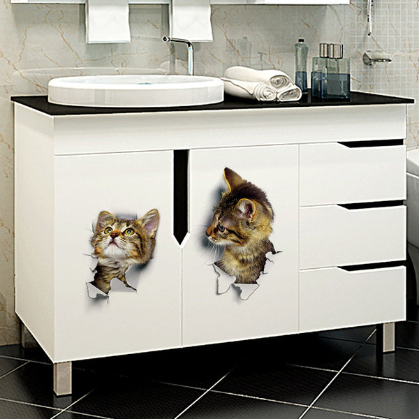 Fun 3D Kitten Poking Through Wall  Decals - LIMITED SUPPLY